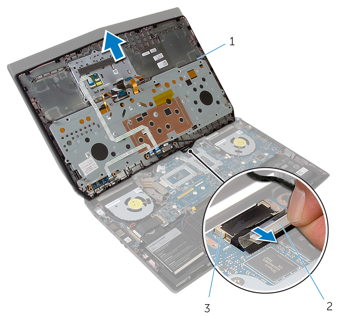 Image: Disconnecting the power-button board cable
