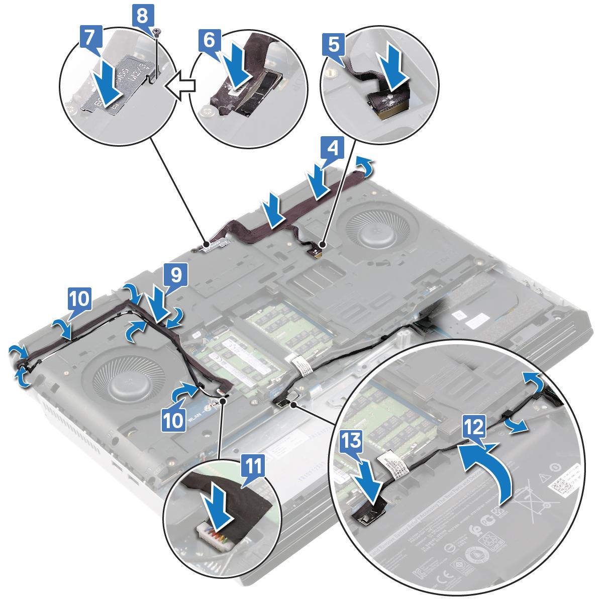 圖:將纜線連接至主機板。
