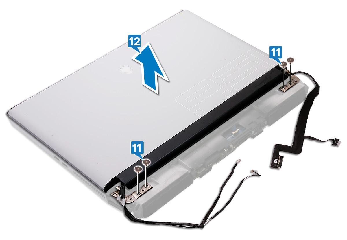 圖:卸下顯示器組件