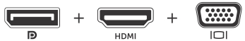 DP, HDMI, and VGA icons