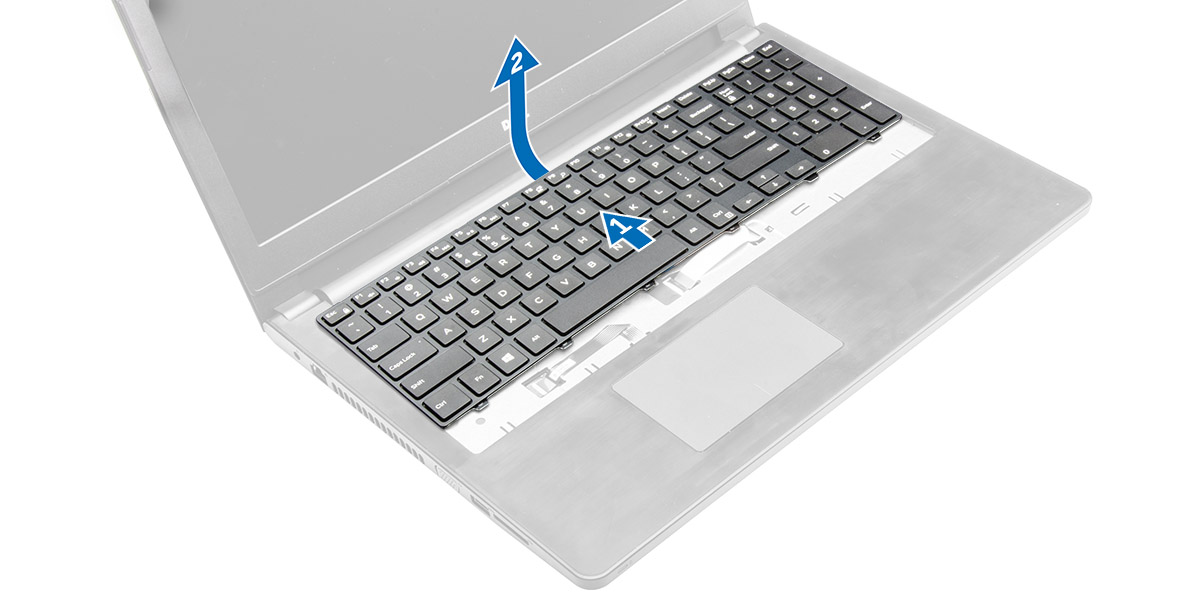 Figure displaying how to slide the keyboard to access the cable.