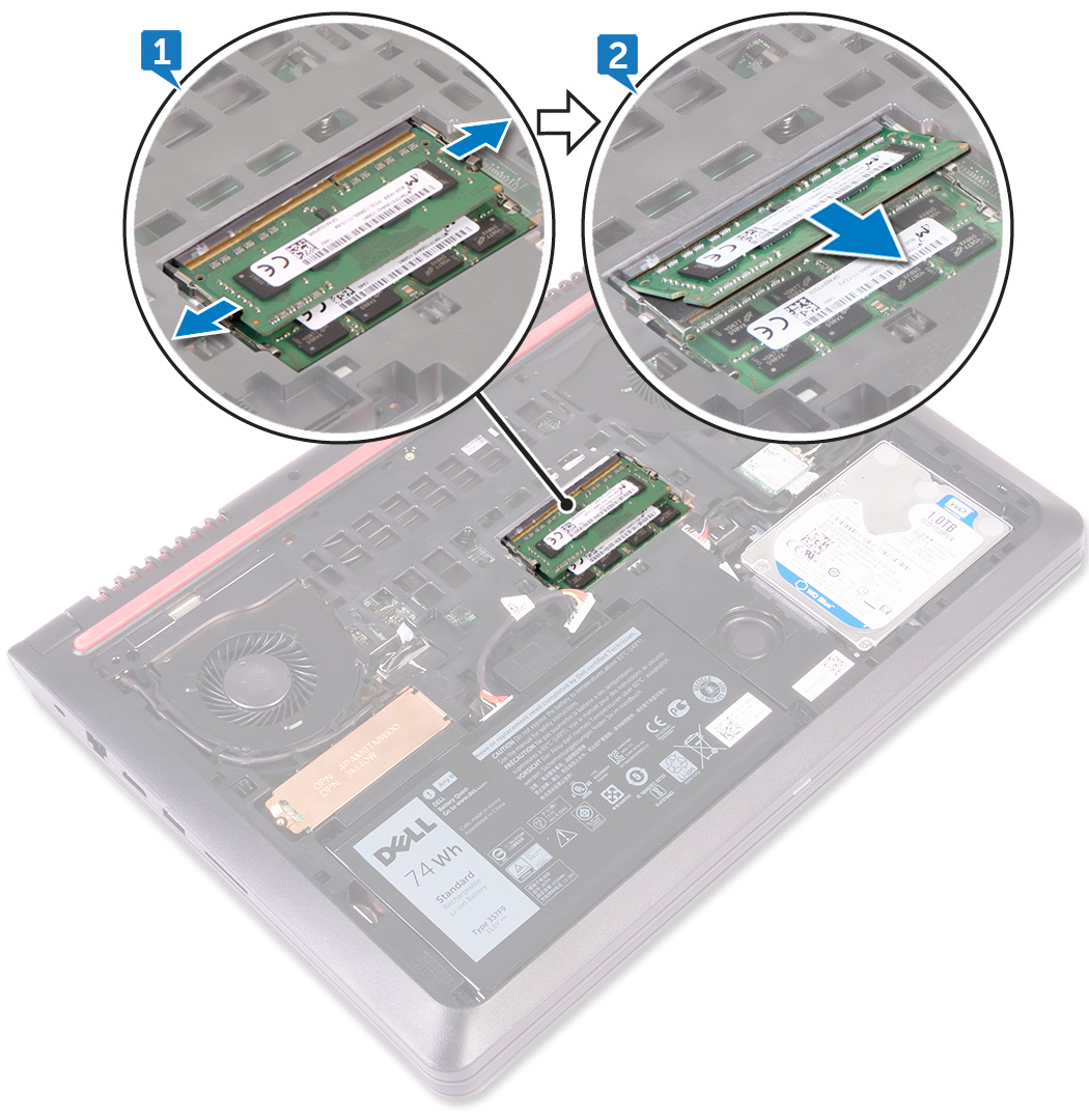 Image: Removing the memory modules