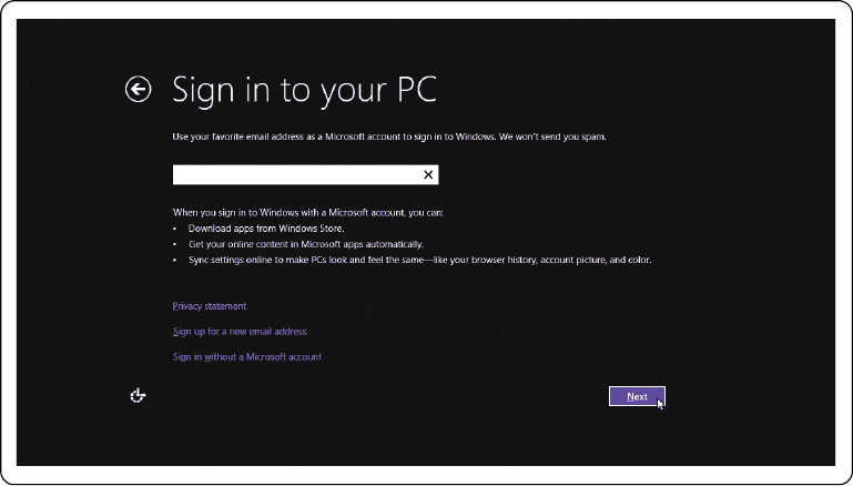 Image: Sign in to your Microsoft account or create a local account