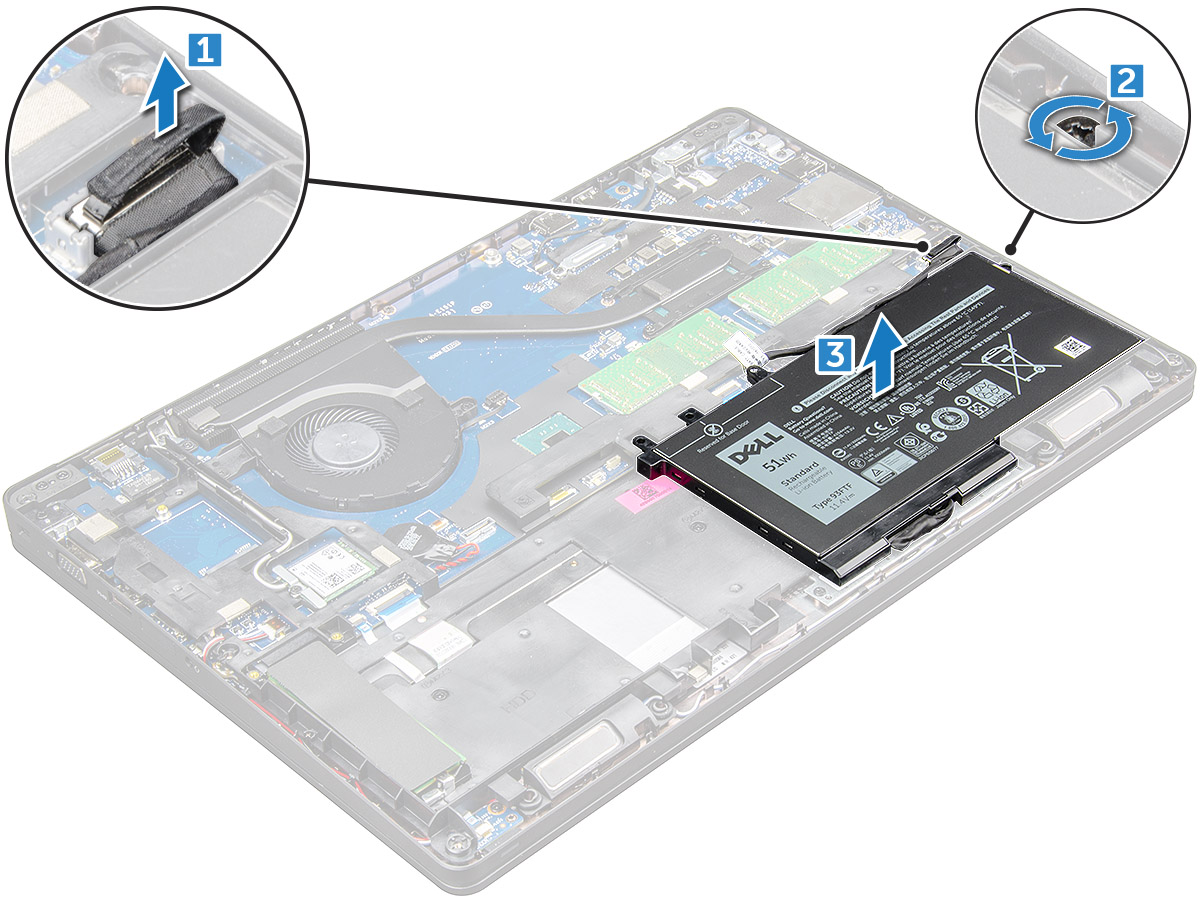 Dell Latitude 5580 Owners Manual Remove The Casing Of Hub And Keypad Circuit Boards Removing Battery