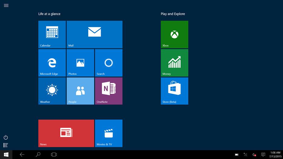 Windows 10 start screen