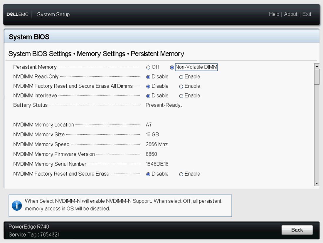 This image shows Persistent Memory screen.