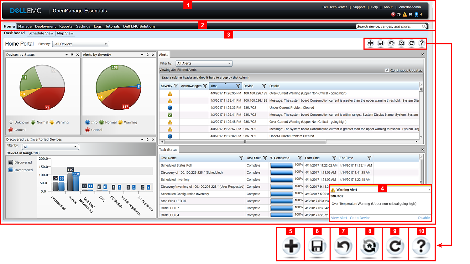 This figure shows the OpenManage Essentials Home Portal layout
