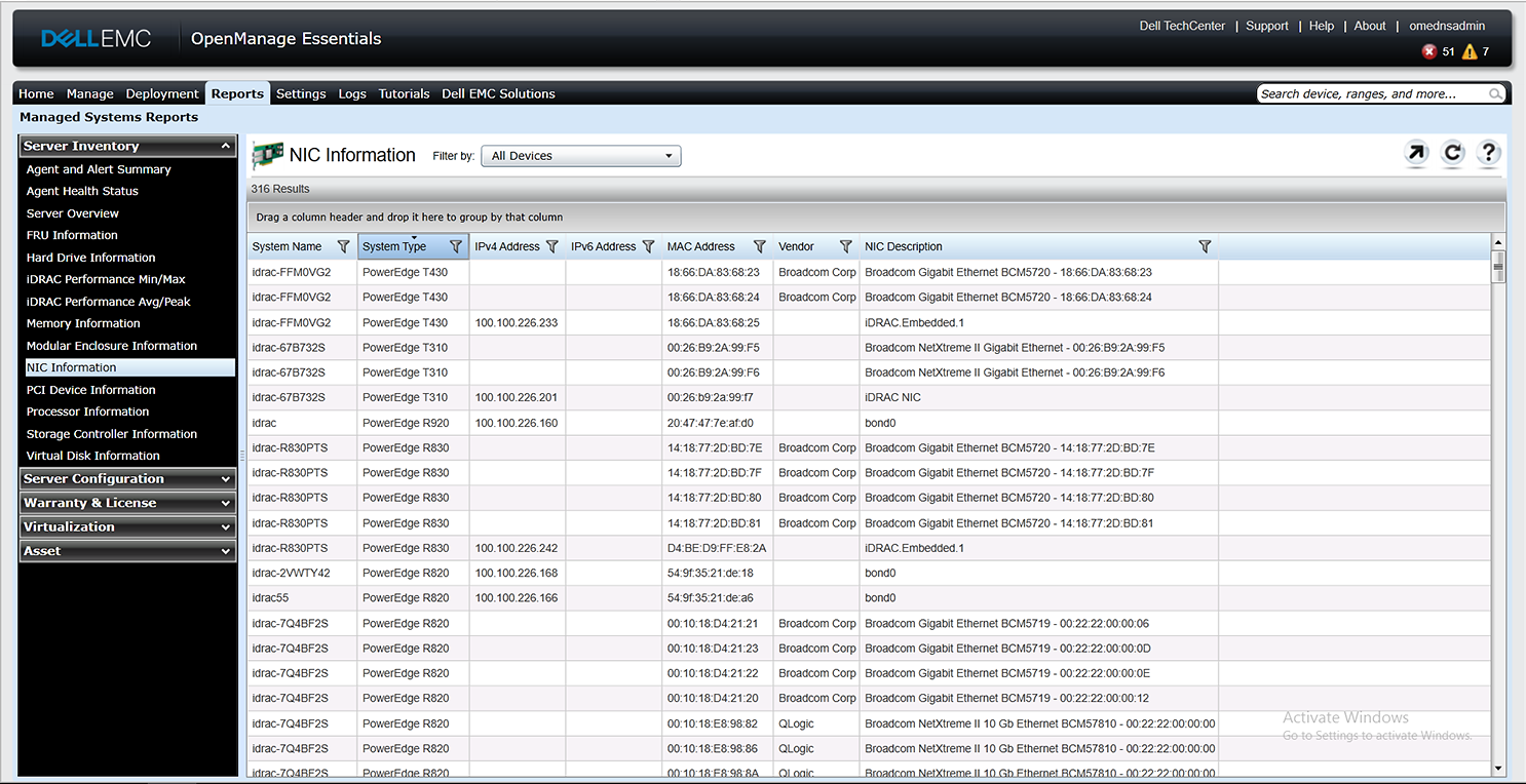 This figure shows a screen shot of a NIC information report