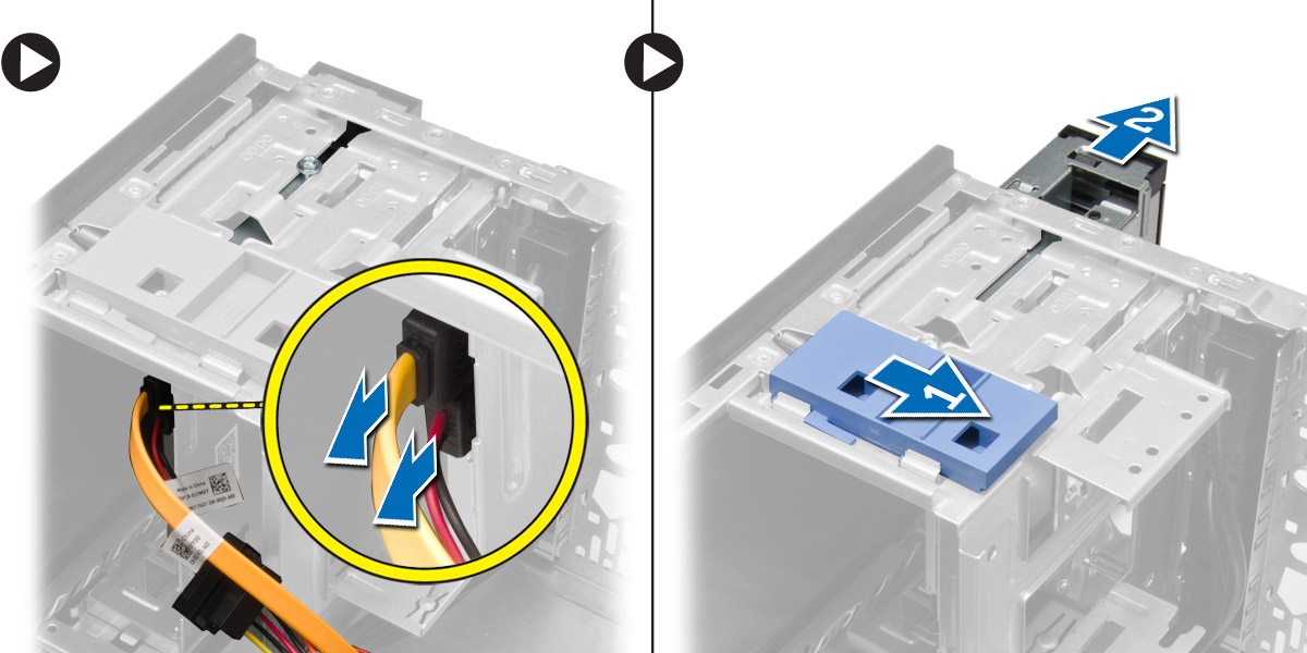 Figure displaying how to release the latch to unlock optical drive and remove it.
