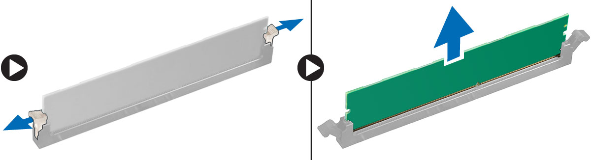 Figure displaying how to remove the memory modules out of the connector on the system board.