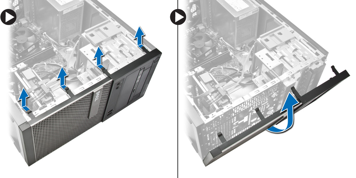 Figure displaying how to pry the front bezel retention clips and to rotate the bezel away from the computer to release the hooks on the opposite edge of the bezel from the chassis