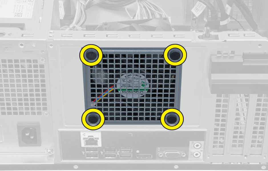 Figure displaying how to release the system fan from the computer.