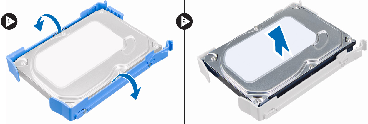 Figure displaying how to remove the hard-drive from its bracket.
