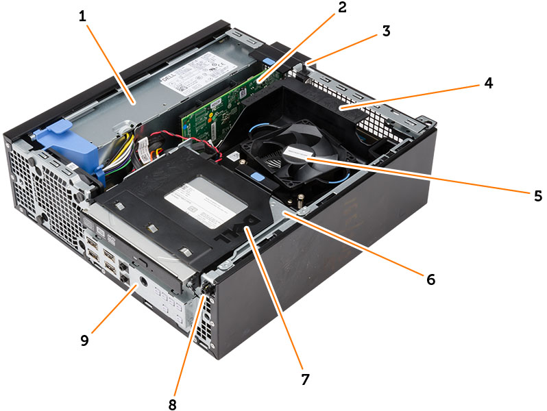 Figure displaying the inside view of the Small Form Factor with call outs.