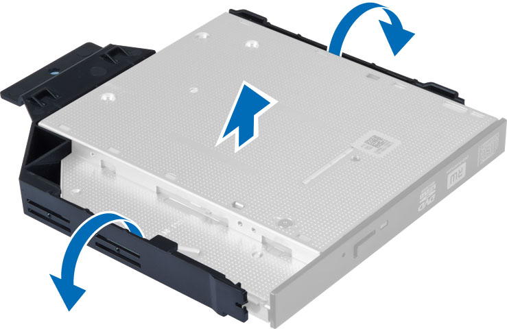Figure displaying how to remove optical drive bracket from the optical drive.