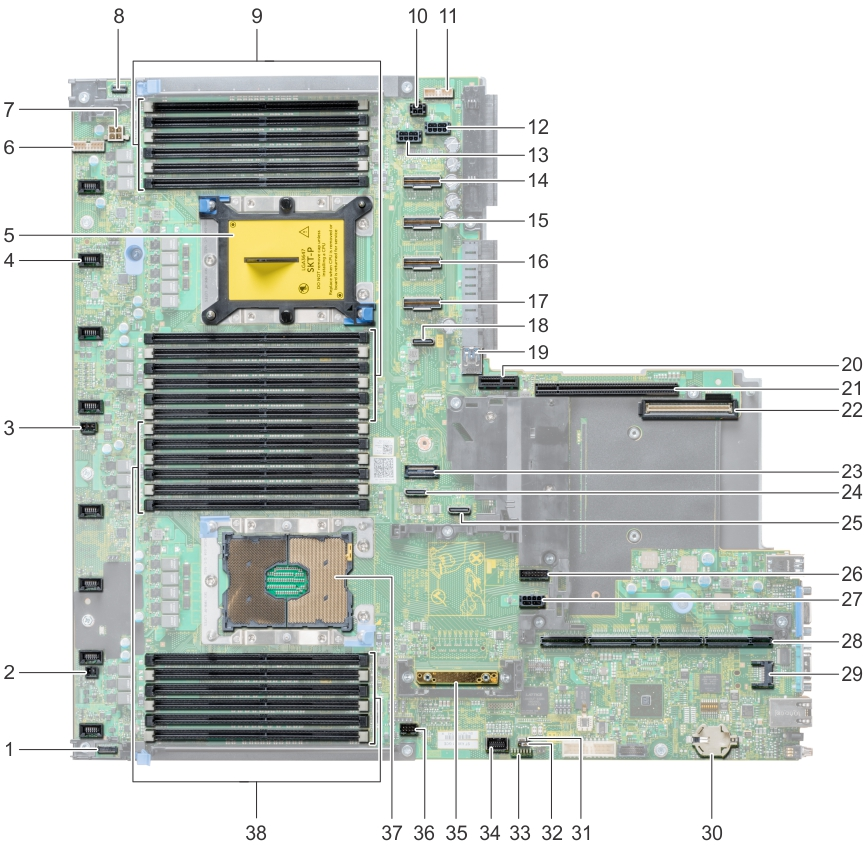 This image shows system board jumpers and connectors.