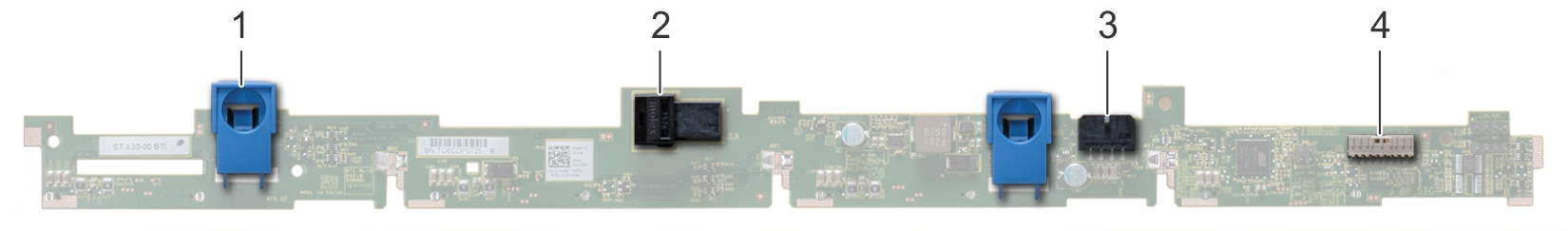 This image shows 4 x 3.5 inch drive backplane
