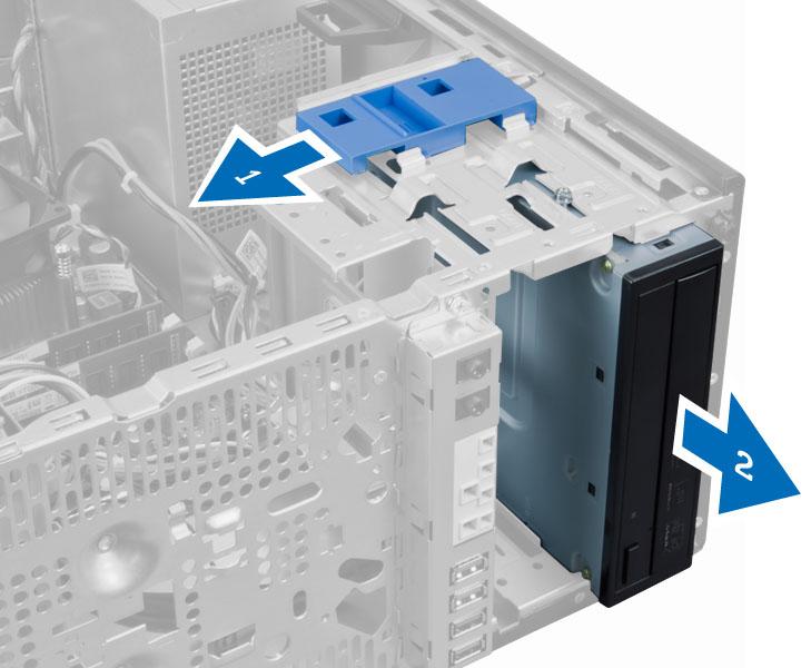 ラッチを外してオプティカルドライブのロックを解除し、取り外す方法を示す図