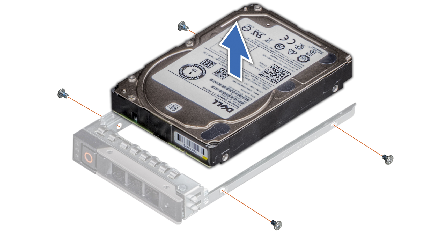 Figure displaying removing hard drive from the hard drive carrier