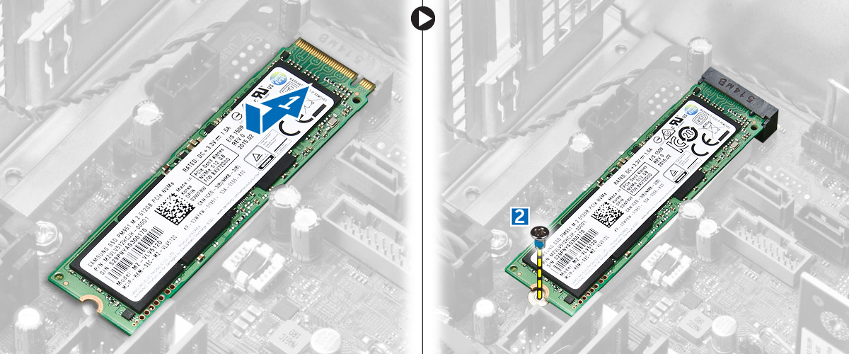 Figure displaying installing the PCIe SSD card into the slot.