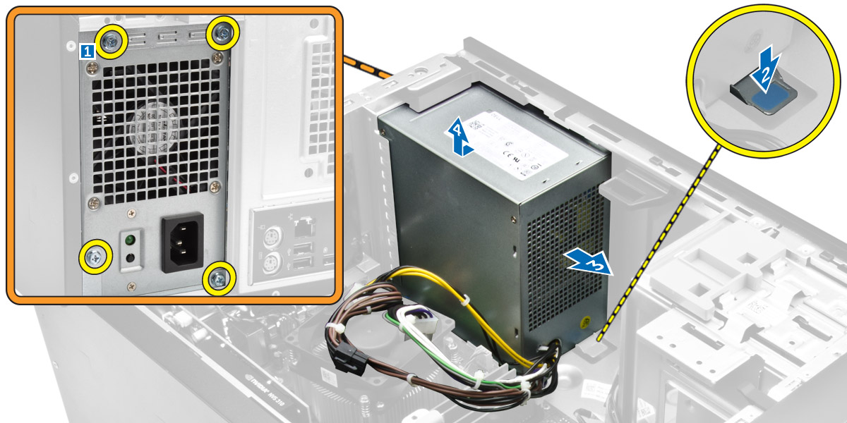 Figure displaying how to release and remove the power supply unit from the computer.