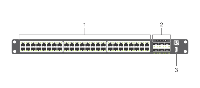 Illustration of the S4048–ON I/O-side view.
