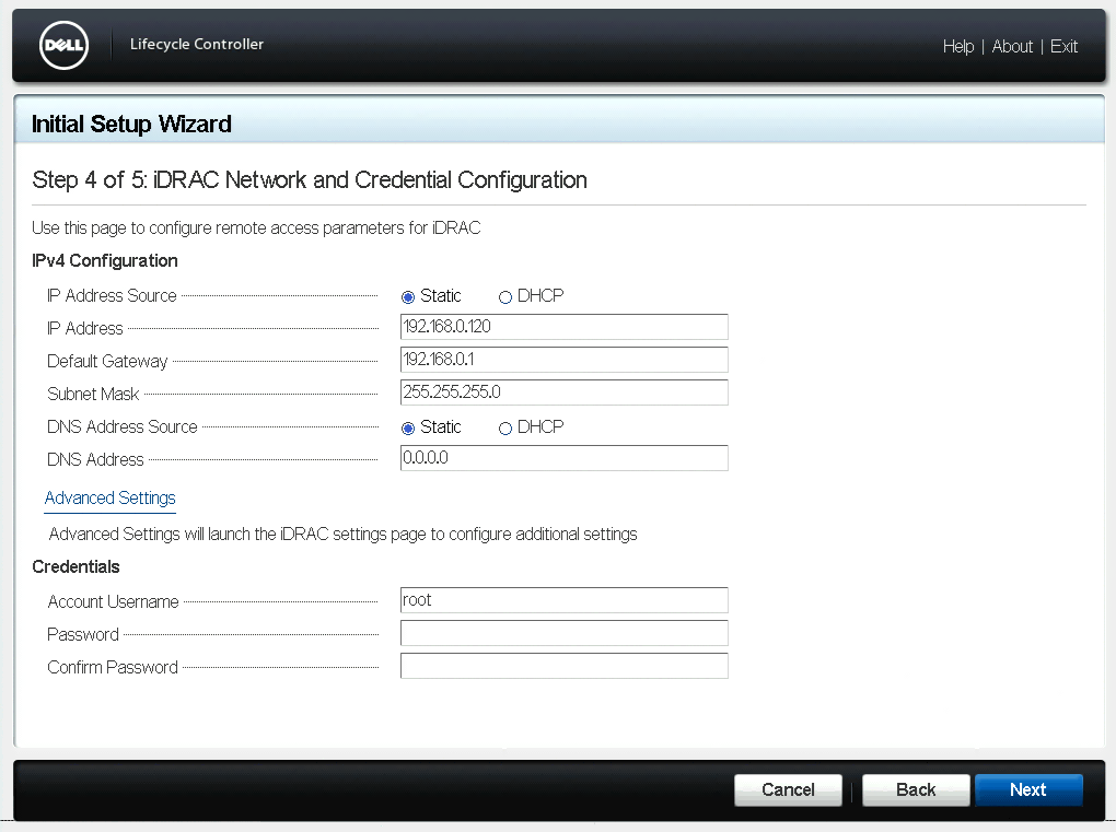 iDRAC Network and Credential Configuration Dialog