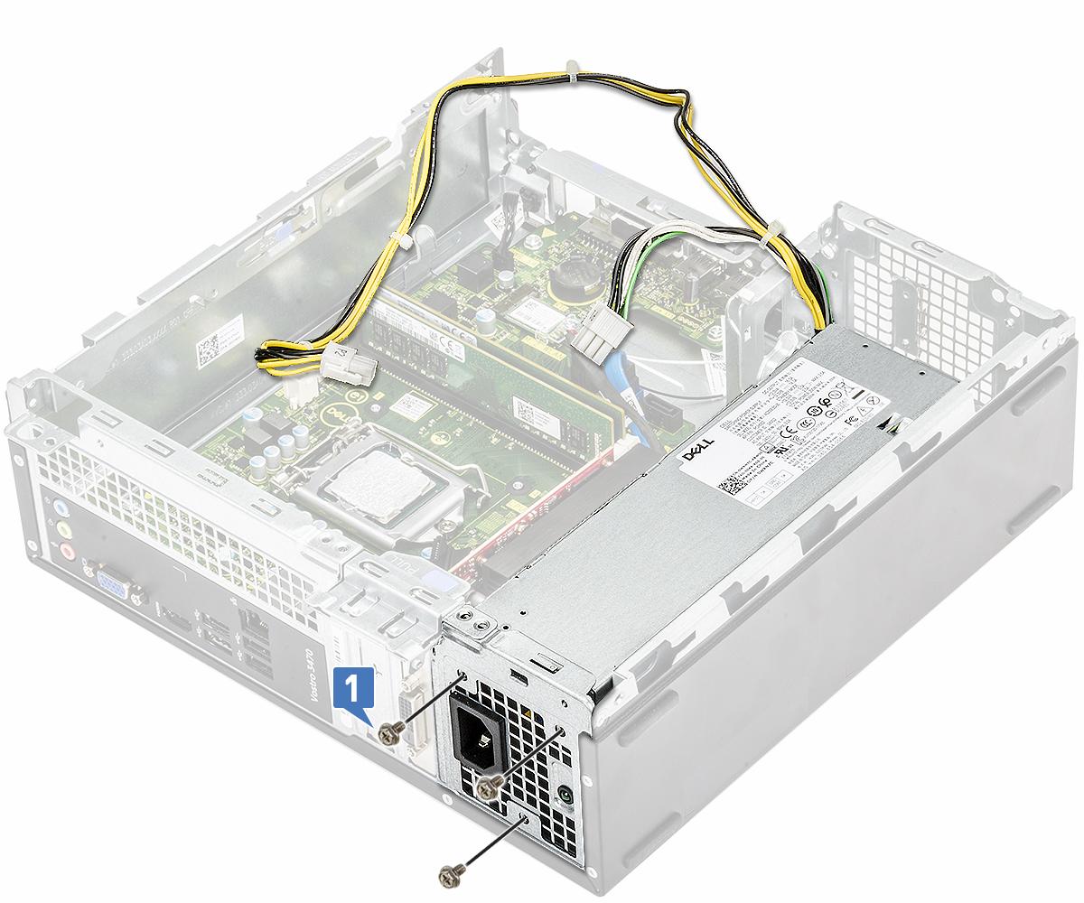 Slika prikazuje ponovno postavljanje vijaka koji pričvršćuju PSU na sustav