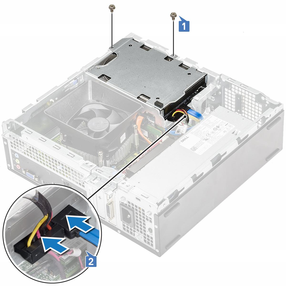 Gambar menunjukkan pemasangan sasis hard disk 3,5-inci