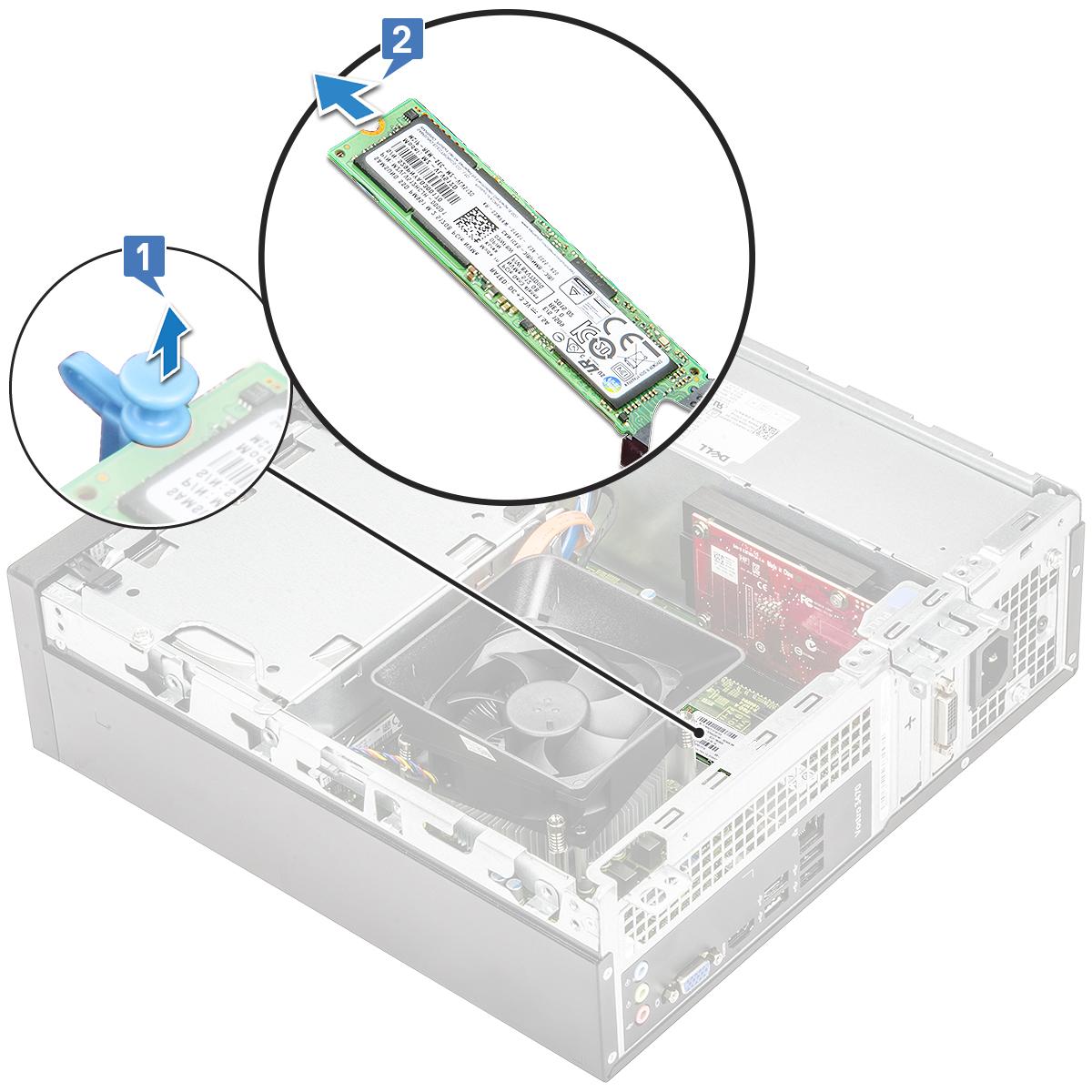 Gambar yang menampilkan cara melepaskan kartu SDD dari komputer.