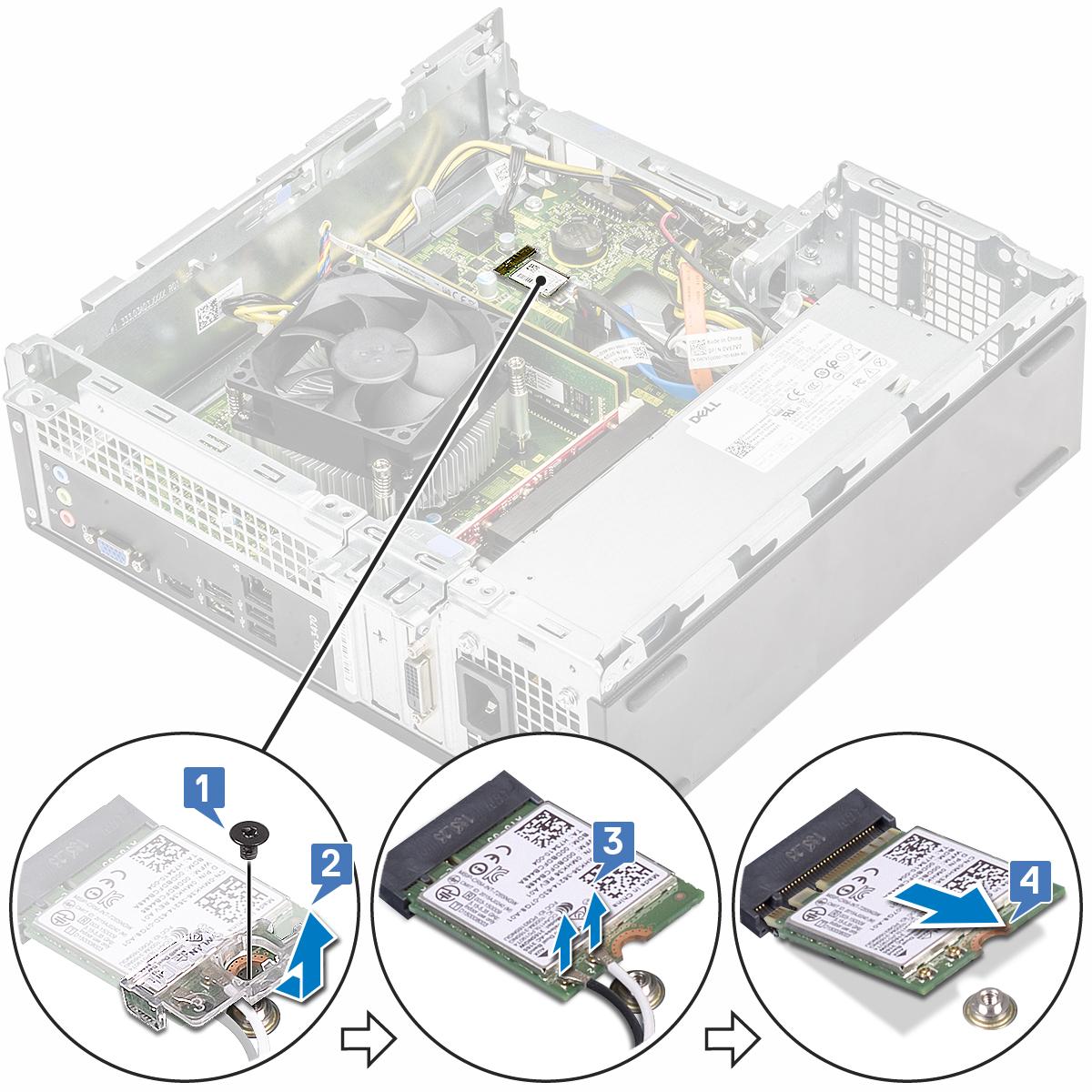 Slika prikazuje kako da uklonite WLAN karticu iz računala.