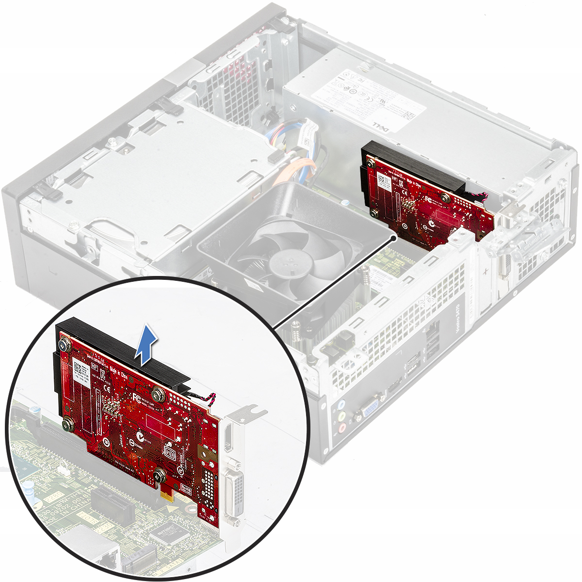 Slika prikazuje kako da uklonite karticu za proširenje iz računala.