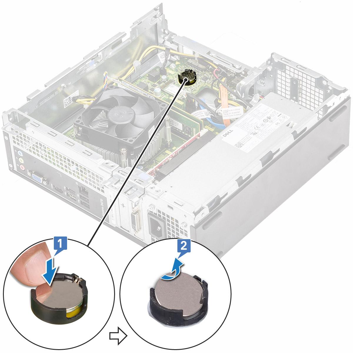 Gambar yang menampilkan pelepasan baterai sel berbentuk koin