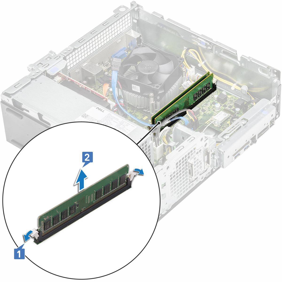 Gambar yang menampilkan pelepasan modul memori