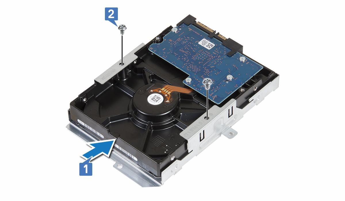 Gambar menunjukkan cara memasang hard disk ke dalam braket hard disk