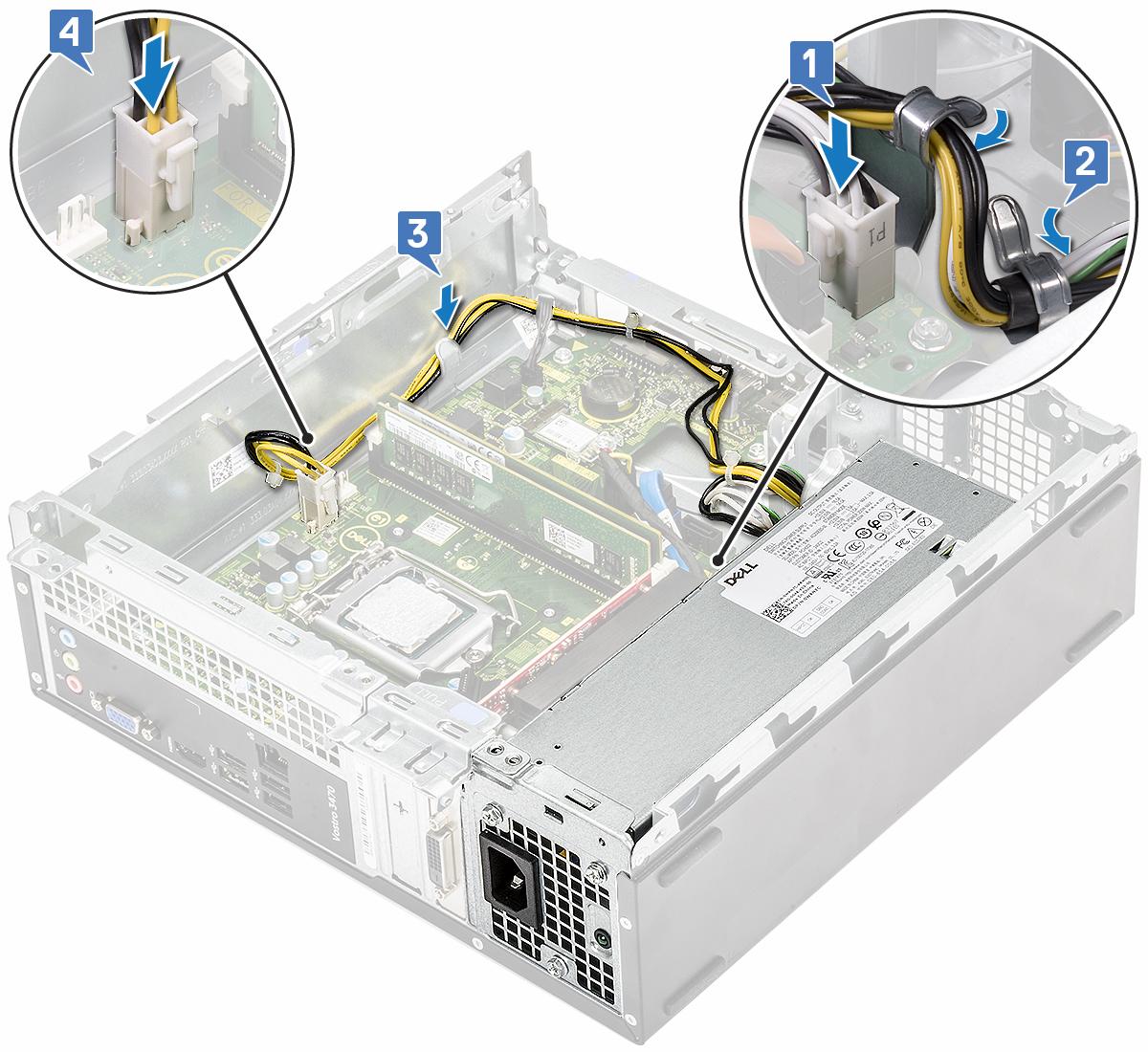 Slika prikazuje povezivanje PSU kabela na matičnu ploču