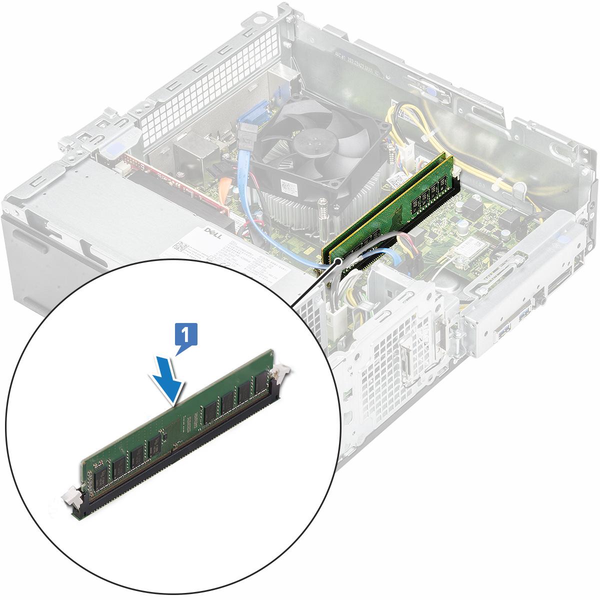 Slika prikazuje kako zamijeniti memorijski modul