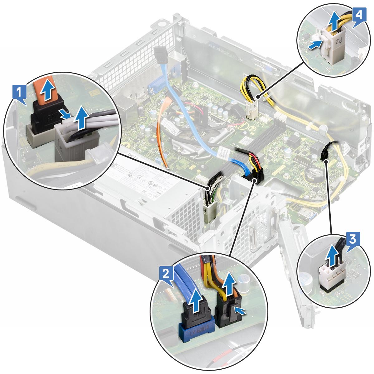 Slika prikazuje uklanjanje kabela iz priključaka na matičnoj ploči