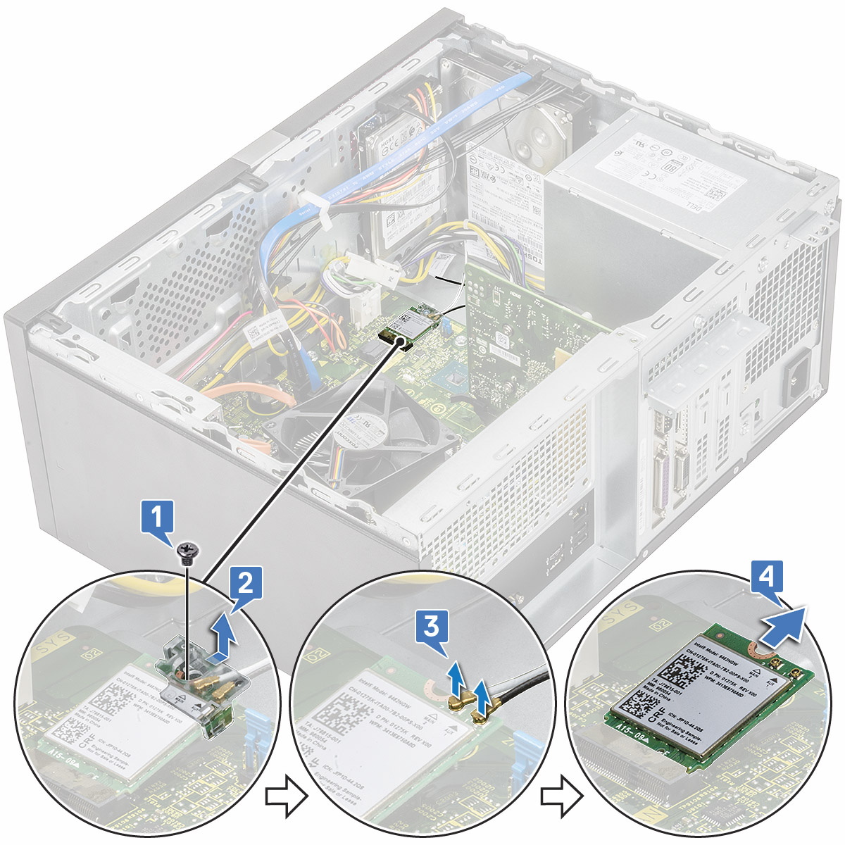 شكل يعرض كيفية إزالة بطاقة WLAN من الكمبيوتر.