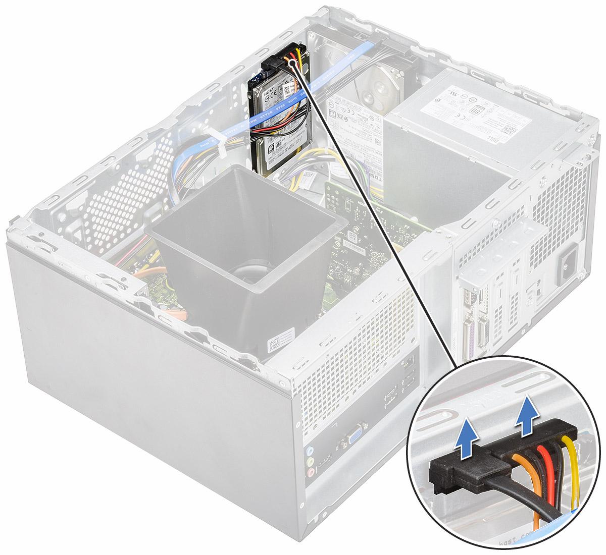 ハードドライブアセンブリをコンピュータから取り外す方法を示す図。