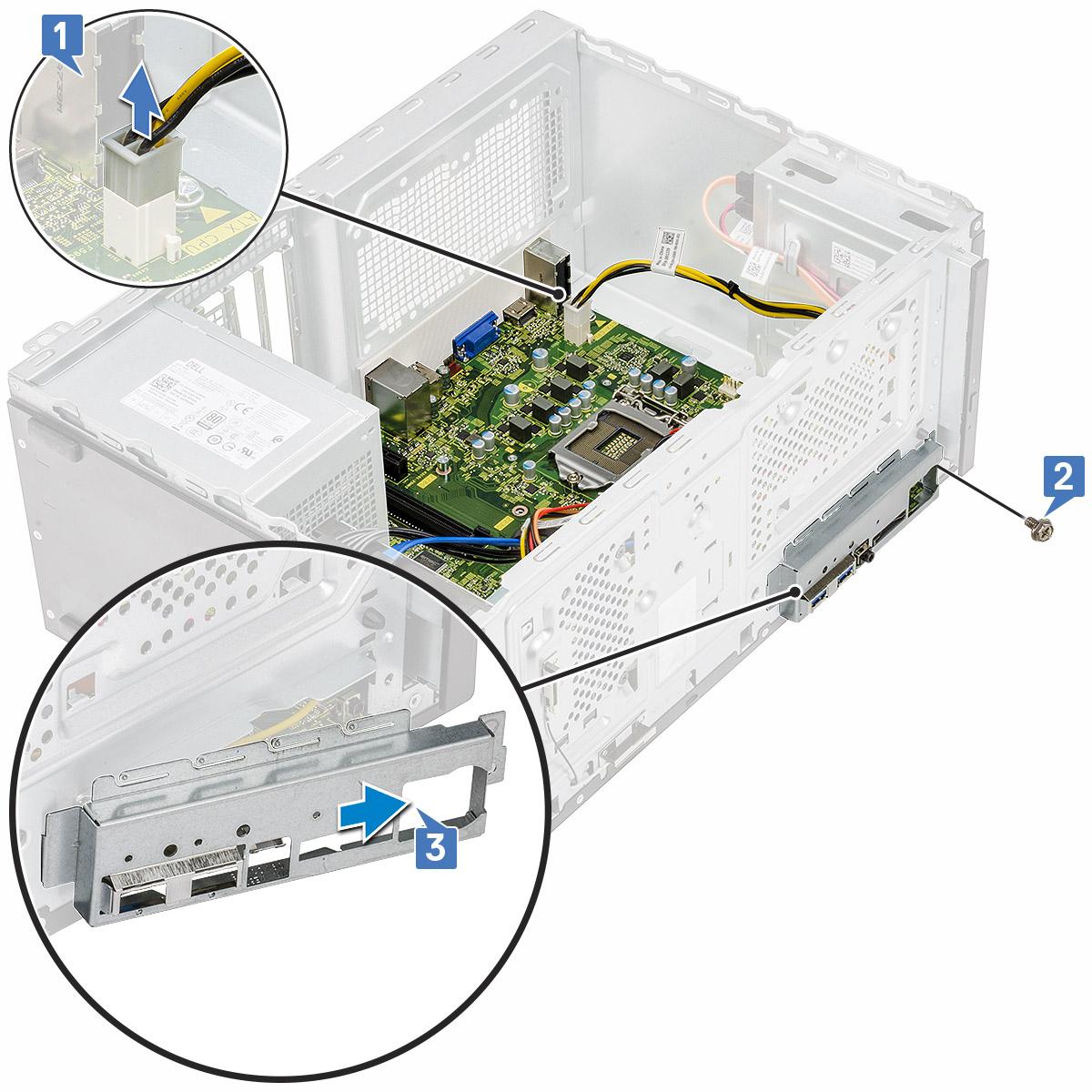 I/Oパネル カバーをコンピューターに固定しているネジの取り外しを示す図。