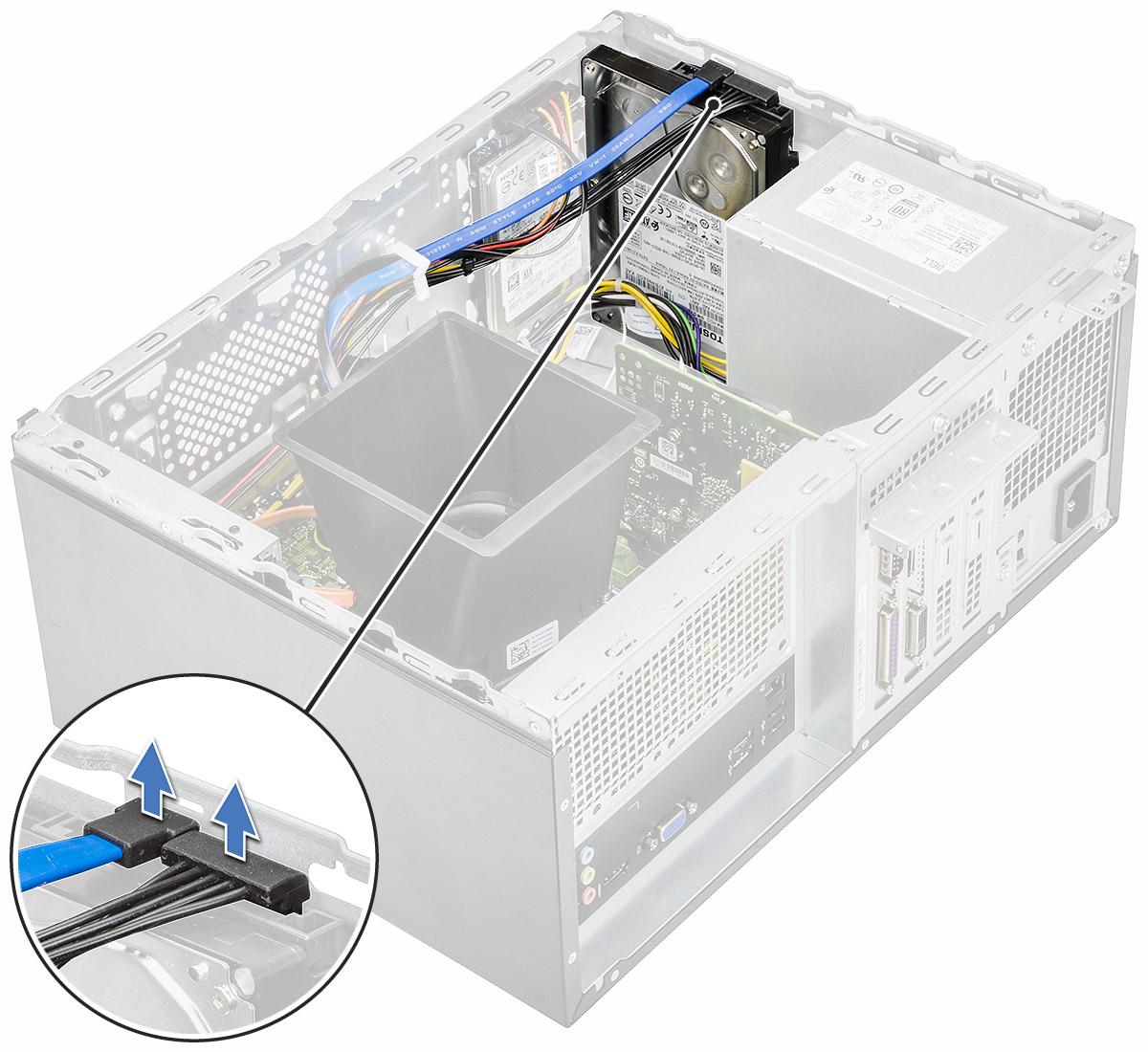 ハードドライブアセンブリをコンピューターから取り外す方法を示す図。