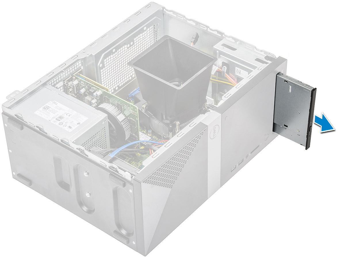 Figuren viser hvordan du tar ut den optiske stasjonsenheten fra datamaskinen.