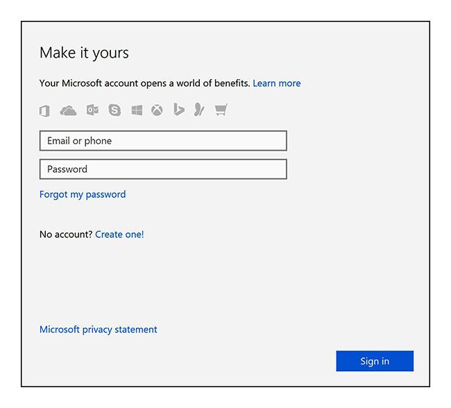 Imagem: Iniciar uma sessão numa conta Microsoft ou criar uma nova conta
