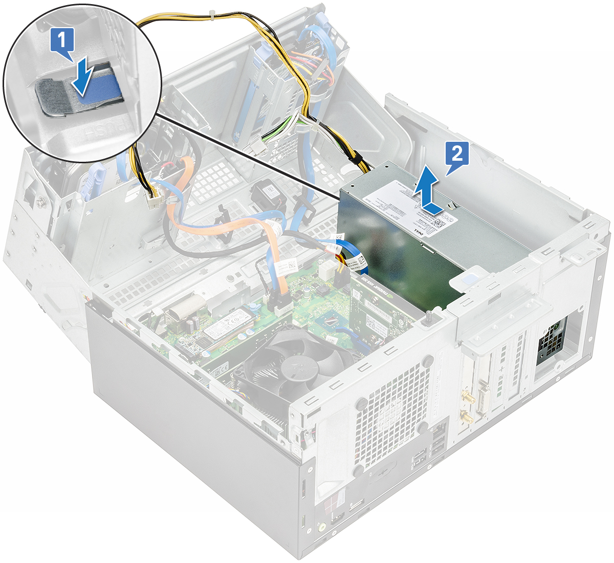 Optiplex 3050 Tower Owners Manual Power Supply Circuit Diagram On Computer Schematic Figure Displaying How To Remove The Psu From