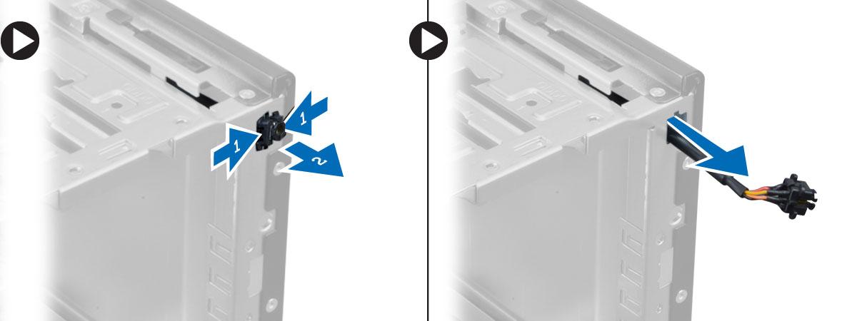 電源スイッチをシャーシから取り外す方法を示す図。電源スイッチをケーブルと共にコンピュータから取り外す方法を示す図。