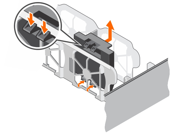 This figure shows removing the cooling fan blank.