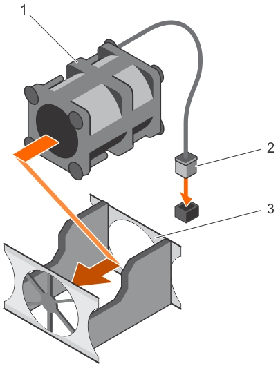 This figure shows installing a cooling fan.