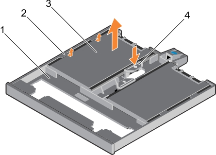 This figure shows removing the 1.8-inch solid state drives from the SSD tray.