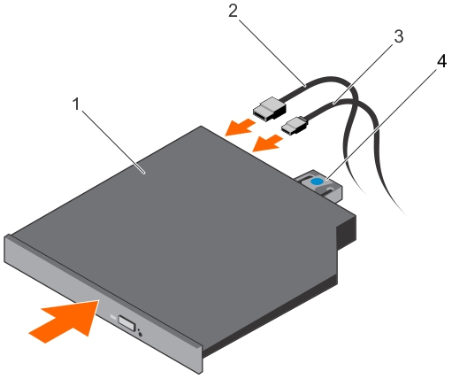 This figure shows installing an optical drive.